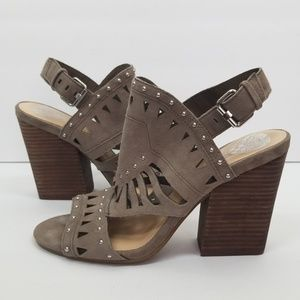 Vince Camuto brown suede studded heels block 7.5